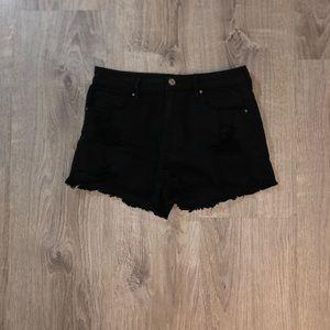 Black Destress Jean Shorts